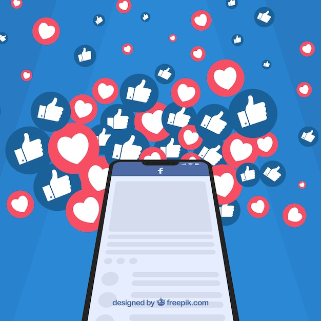Facebook-achtergrond met hart en als pictogrammen Gratis Vector
