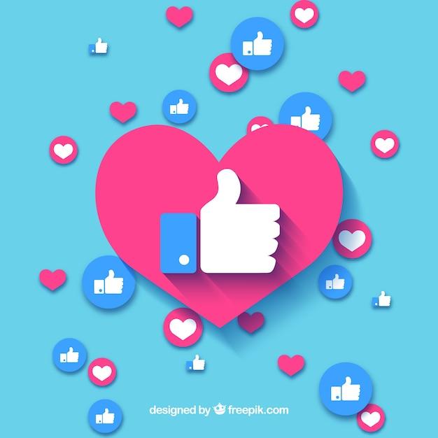 Facebook-achtergrond met harten en vind-ik-leuks Gratis Vector