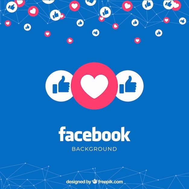 Facebook-achtergrond met likes en harten Gratis Vector