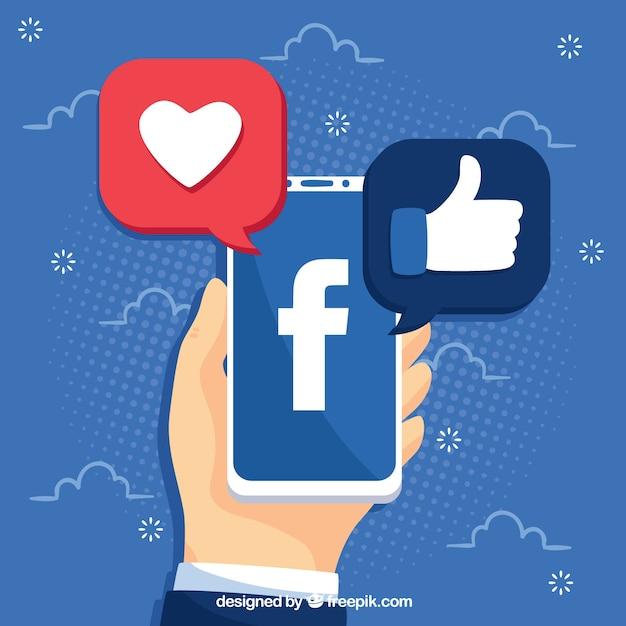 Facebook-achtergrond met mobiele telefoon Gratis Vector