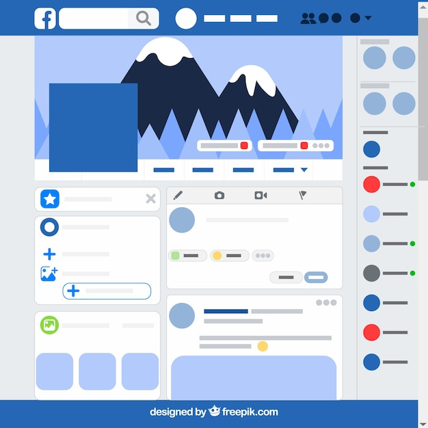 Facebook-app-interface met minimalistisch ontwerp Gratis Vector