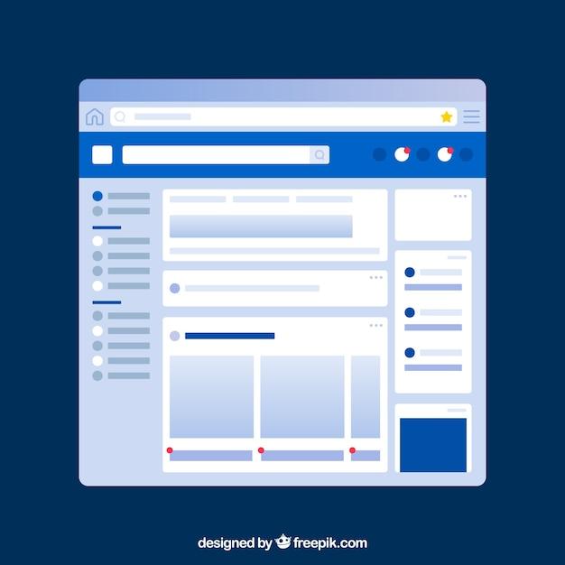 Facebook-app-interface met minimalistisch ontwerp Gratis Vector