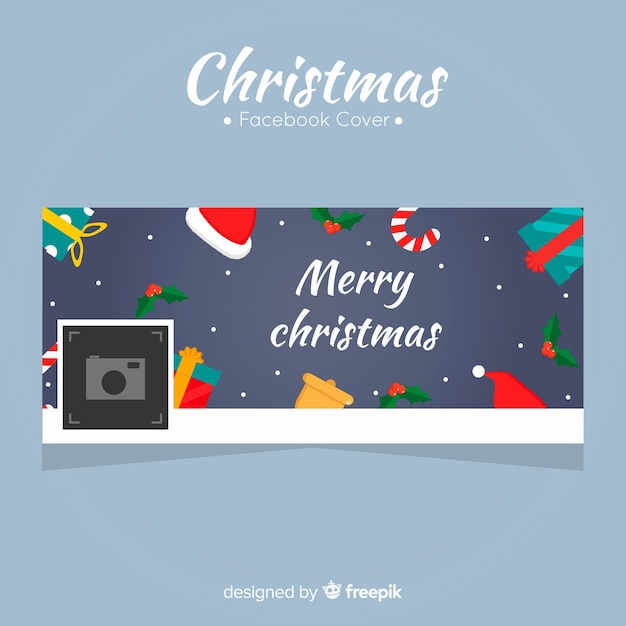Facebook-cover voor kerstmis Gratis Vector
