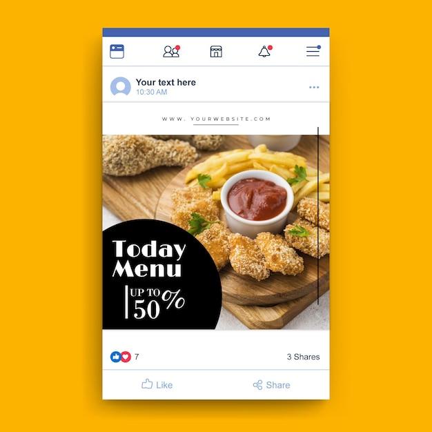 Facebook food restaurant sjabloon Gratis Vector