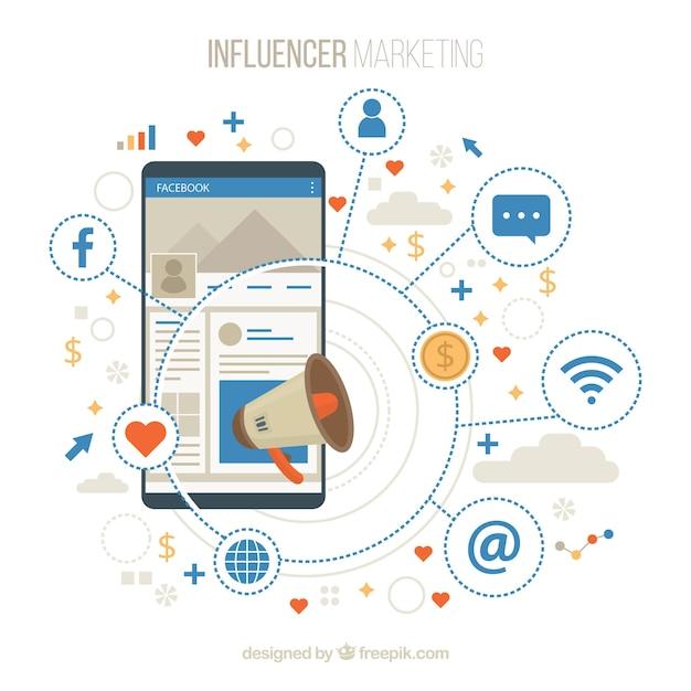 Facebook-influencer-achtergrond met decive en emoticons Gratis Vector