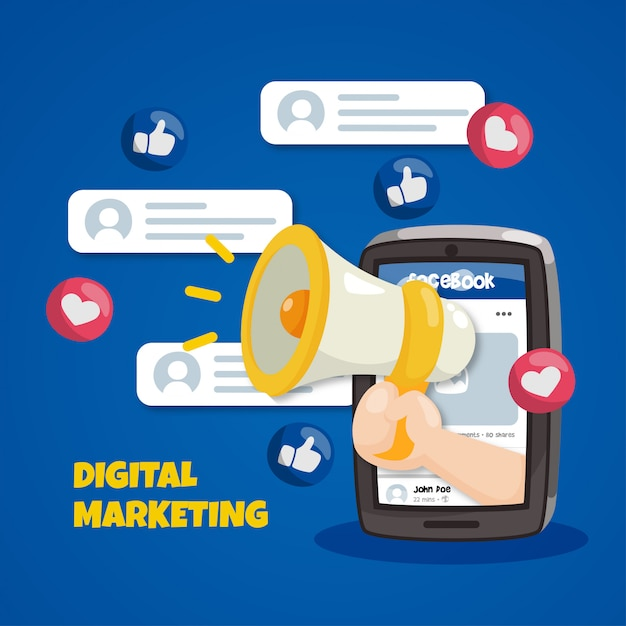 Facebook marketing concept met megafoon Premium Vector