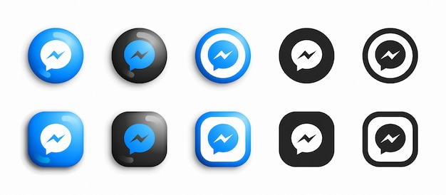 Facebook messenger moderne 3d en plat pictogrammen Premium Vector