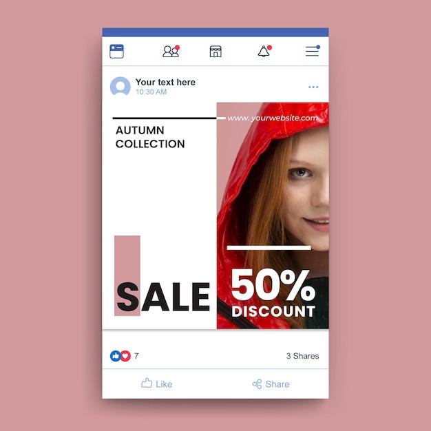 Facebook mode verkoopsjabloon Gratis Vector