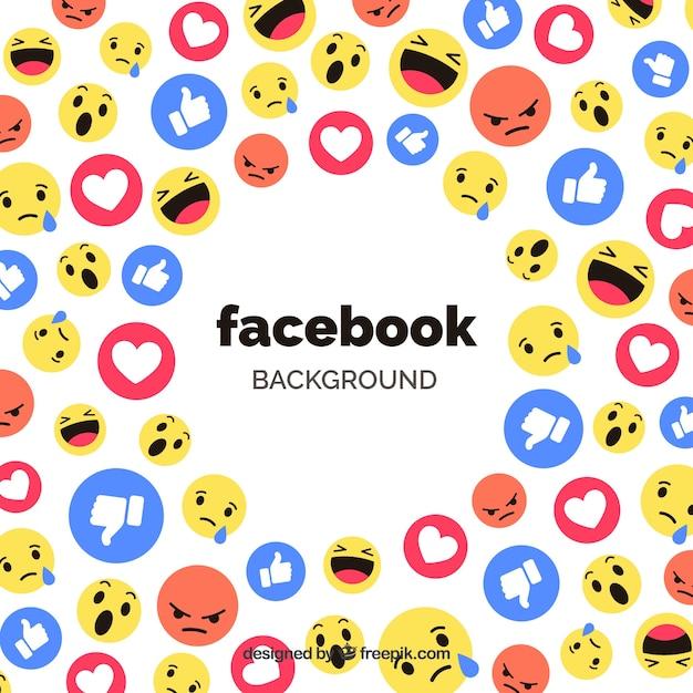 Facebook pictogrammen achtergrond met platte ontwerp Gratis Vector