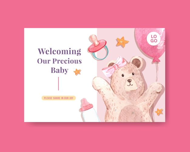 Facebook-sjabloon met baby shower ontwerpconcept voor sociale media en online marketing aquarel vectorillustratie. Gratis Vector