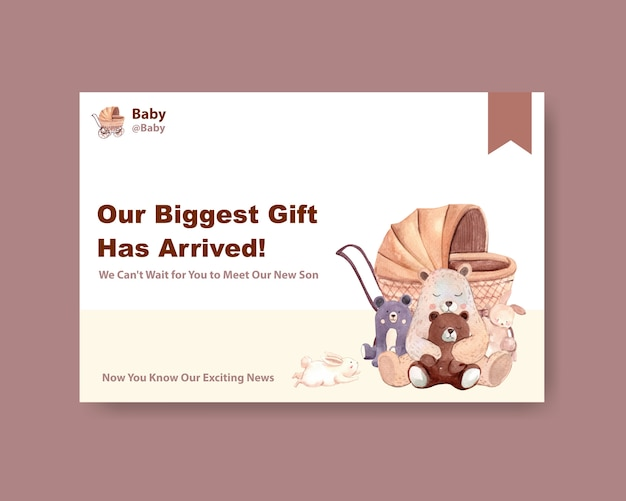 Facebook-sjabloon met baby shower ontwerpconcept voor sociale media en online marketing aquarel vectorillustratie. Gratis Vector