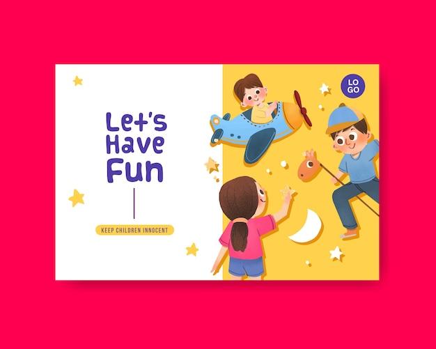 Facebook-sjabloon met conceptontwerp voor kinderdag Gratis Vector
