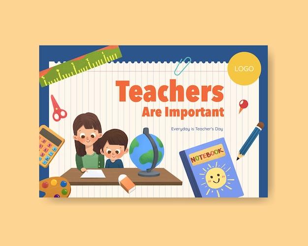 Facebook-sjabloon met het conceptontwerp van de dag van de leraar Gratis Vector