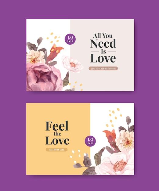 Facebook-sjabloon met liefde bloeiende conceptontwerp voor sociale media en online gemeenschap aquarel illustratie Gratis Vector