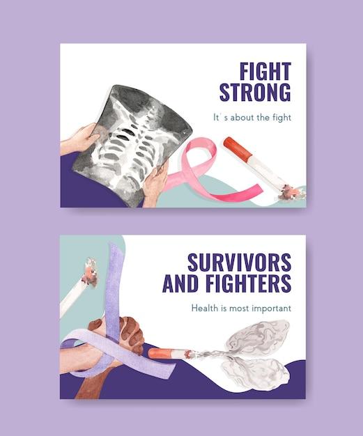 Facebook-sjabloon met wereld kanker dag conceptontwerp voor sociale media en online marketing aquarel vectorillustratie. Gratis Vector