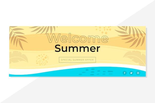 Facebook zomer voorbladsjabloon Gratis Vector