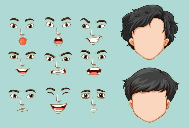Faceless man en verschillende gezichten met emoties Gratis Vector