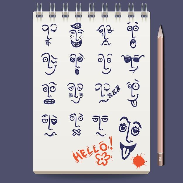 Faces characters sketch Gratis Vector