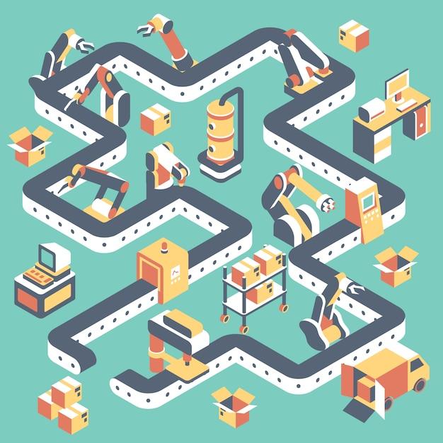 Factory geautomatiseerde productielijn plat isometrisch Premium Vector