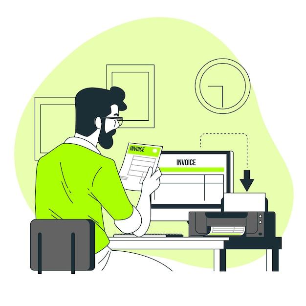 Facturen concept illustratie afdrukken Gratis Vector
