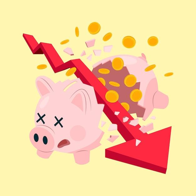 Faillissementsconcept gebroken spaarvarken Gratis Vector