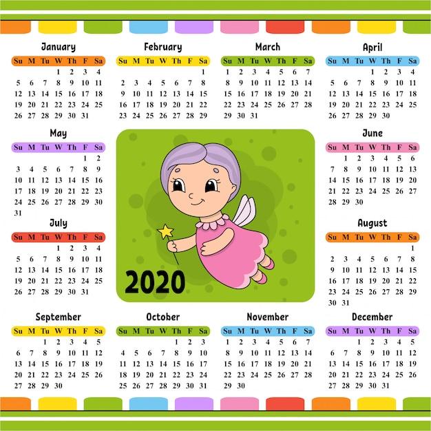 Fairy meter vliegt en houdt een toverstaf vast. kalender voor 2020 met een schattig karakter. Premium Vector