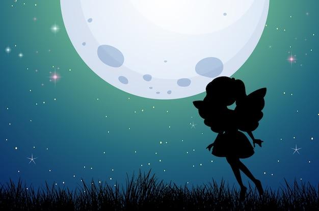 Fairy silhouet in de natuur achtergrond Gratis Vector