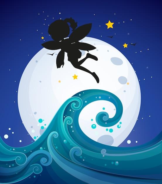 Fairy silhouet in de natuur Gratis Vector