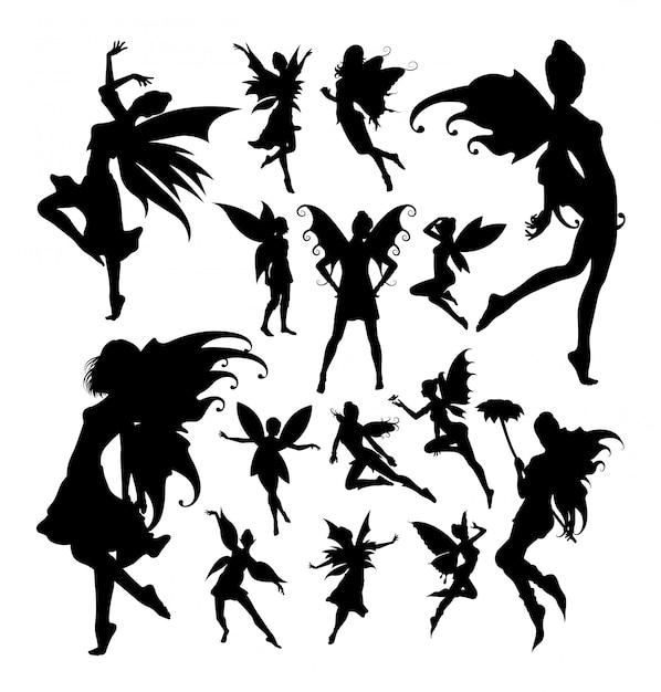 Fairy silhouetten Premium Vector