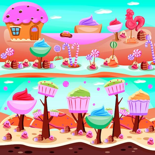 Fairytale candyland illustratie set Gratis Vector