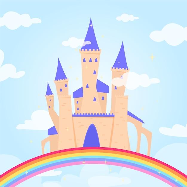 Fairytale concept met kasteel Gratis Vector