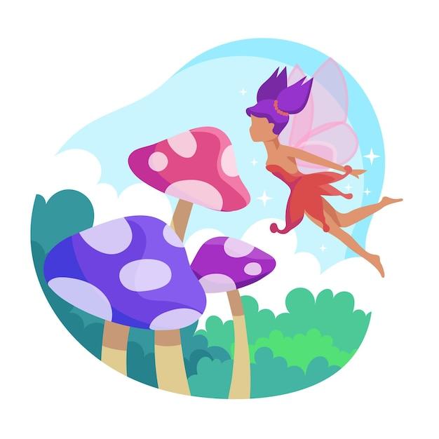Fairytale fairy concept Gratis Vector