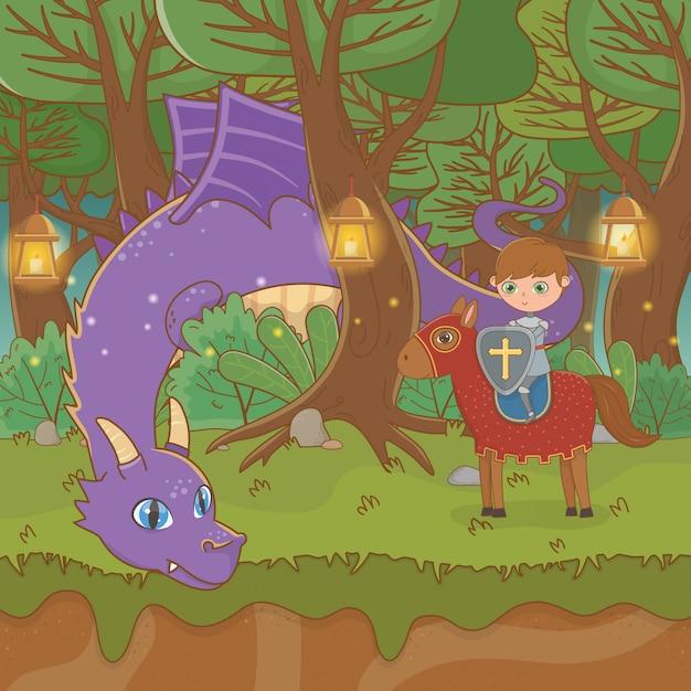 Fairytale landschapsscène met draak en strijder in paard Premium Vector