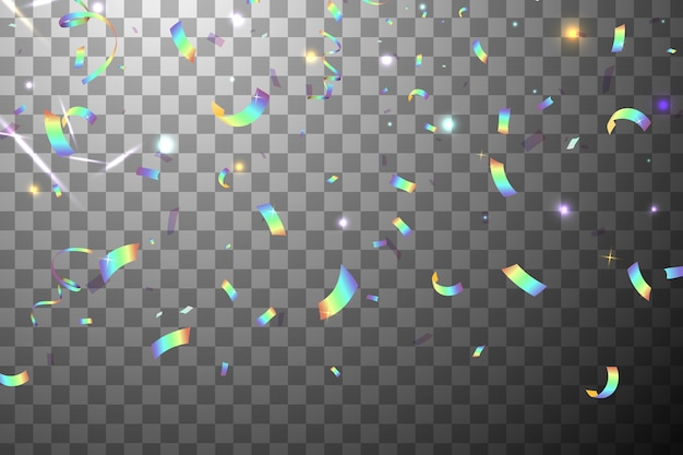 Falling shiny glitter regenboog confetti met sunshine glare geïsoleerd. iriserende achtergrond. mesh holografische folie achtergrond. holografische achtergrond met licht glitch effect. Premium Vector