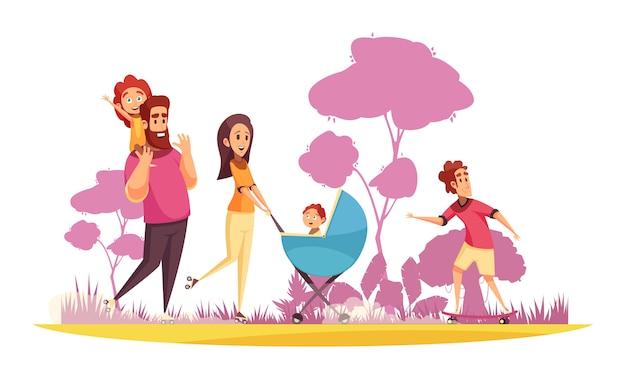 Familie actieve vakantie ouders met kinderen tijdens de zomer wandeling op de achtergrond van bomen silhouetten cartoon Gratis Vector