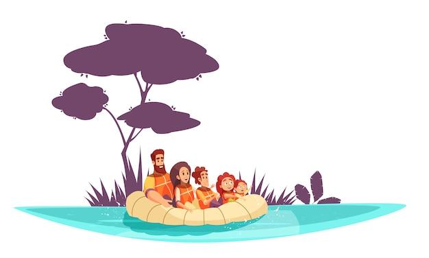 Familie actieve vakanties ouders en kinderen in reddingsvesten op opblaasbaar vlotbeeldverhaal Gratis Vector