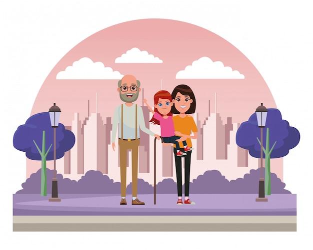 Familie avatar cartoon karakter portret Premium Vector