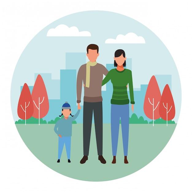 Familie avatar stripfiguur ronde pictogram ronde pictogram Premium Vector