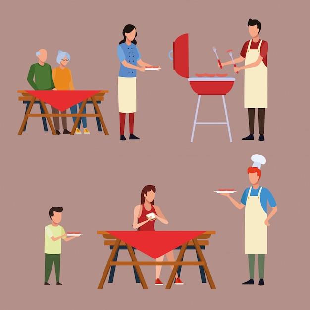 Familie barbecue picknick Premium Vector