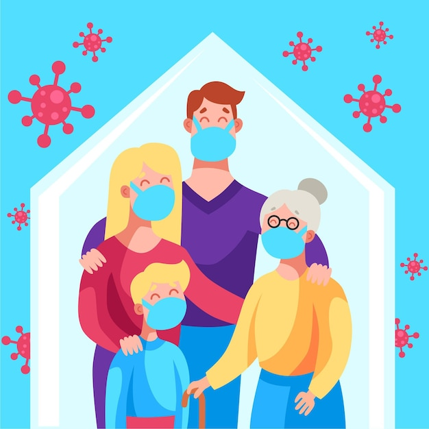 Familie beschermd tegen de virusillustratie Gratis Vector
