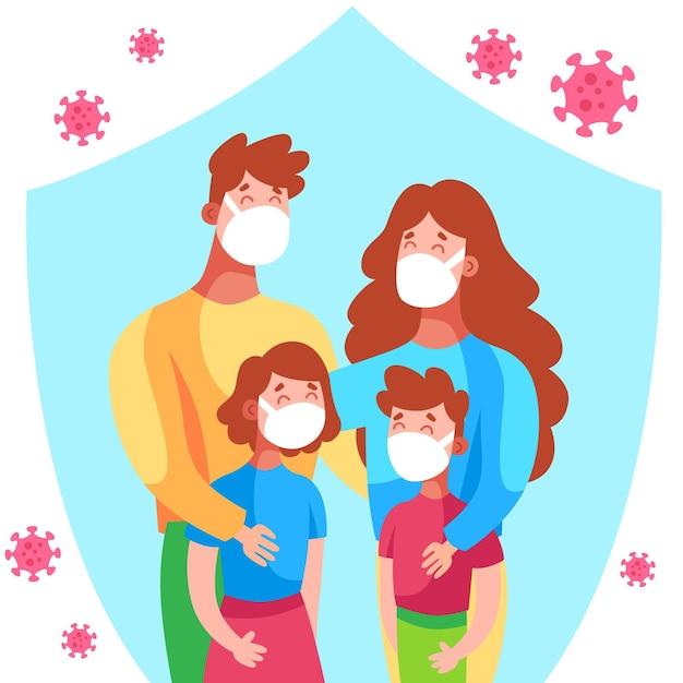 Familie beschermd tegen het geïllustreerde virus Gratis Vector