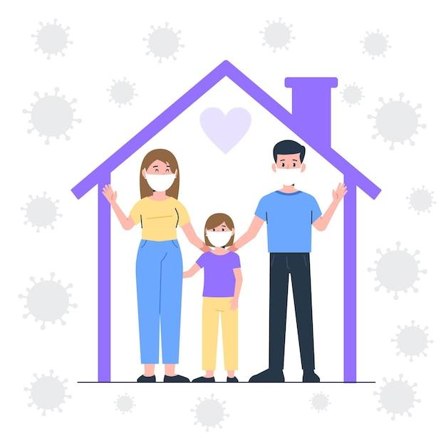 Familie beschermd tegen het virus Gratis Vector