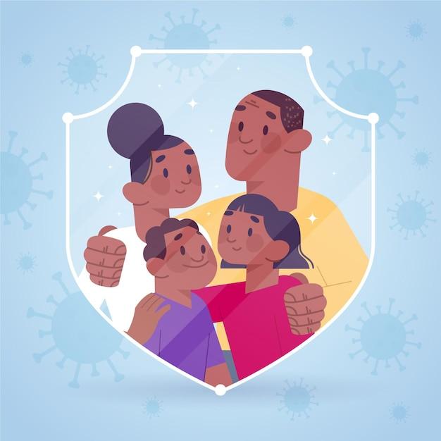 Familie beschermd tegen het virusconcept Gratis Vector