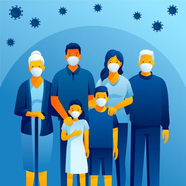 Familie beschermd tegen virussen Gratis Vector