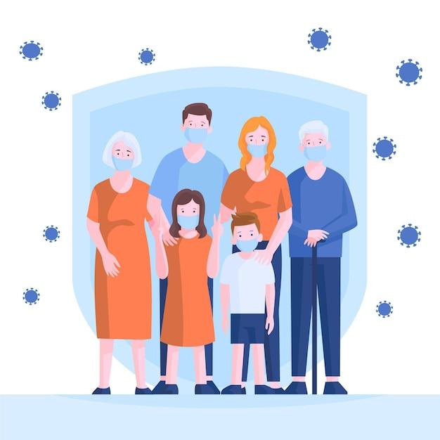 Familie beschermd tegen virusthema Gratis Vector