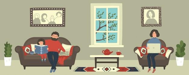Familie blijft thuis. moeder die met laptop werkt, terwijl vader voor het boek van de dochterlezing zorgt. drukke vrouw op online afstandswerk. vrouwelijke freelancer zitten in gezellige fauteuil. Premium Vector