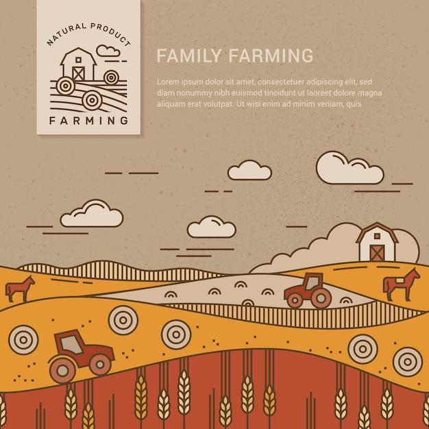 Familie boerderij met een plek voor tekst en logo sjabloon Premium Vector