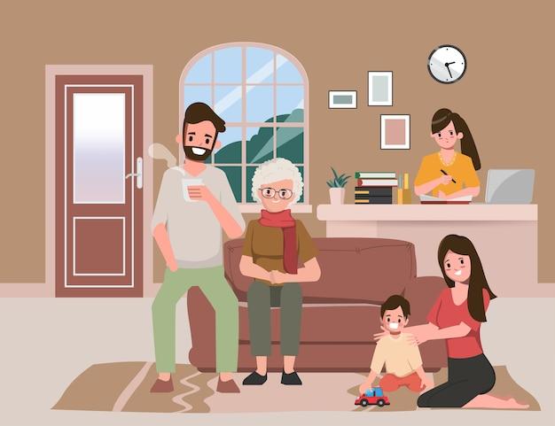 Familie brengt tijd door met ouders terwijl ze thuis zijn. blijf thuis en werk samen thuis. Premium Vector