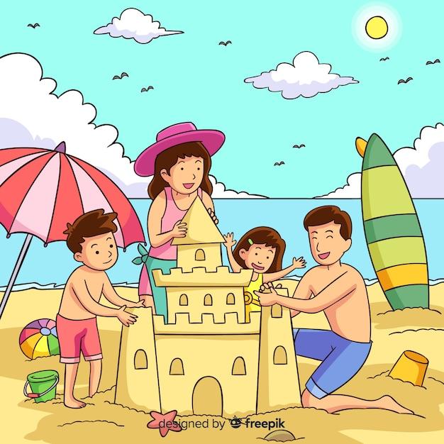 Familie buitenshuis Gratis Vector