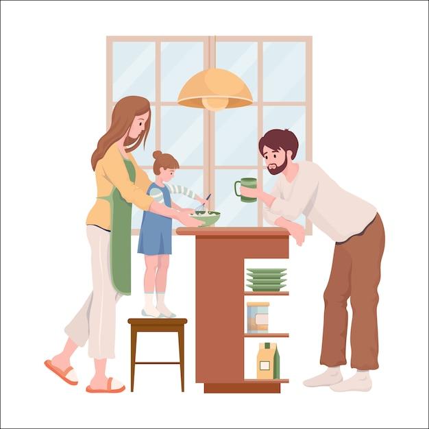 Familie dagelijks leven vlakke afbeelding. gelukkig moeder, vader en dochter in comfortabele kleding pannenkoeken of taart koken voor weekendontbijt samen in de keuken. Premium Vector